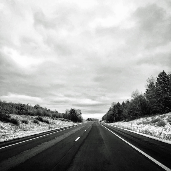 black and white photography winter road